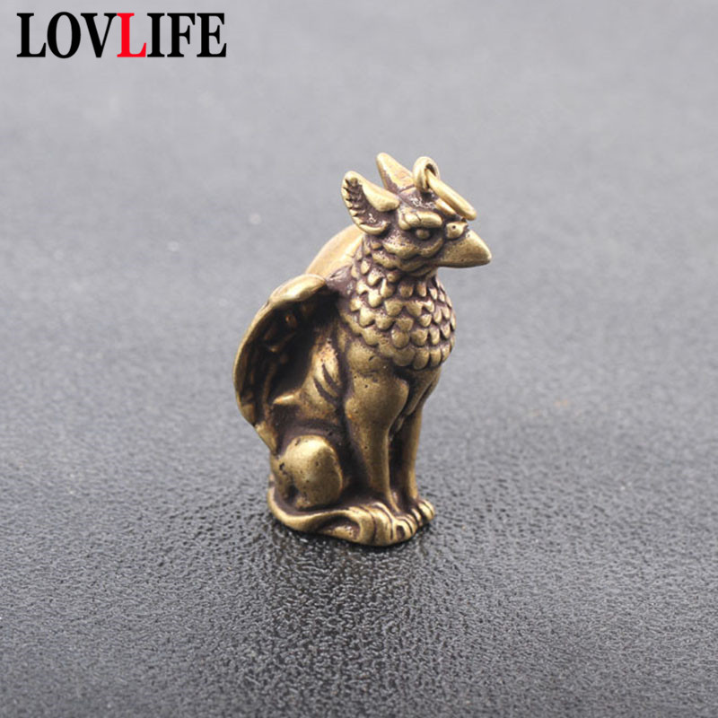 Soild Copper Mythical Animals Bird Head Wings Beast Body Pendants Brass Ornaments Key Chain Hanging Trinket Small Bronze Statue image