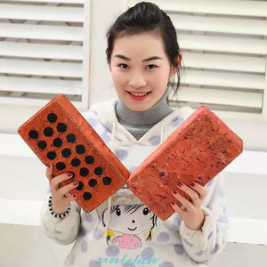 Image 2 - 1pc Touching plush simulation tiles office nap pillow spoof props creative novelty funny vent hollow red brick antistress toy
