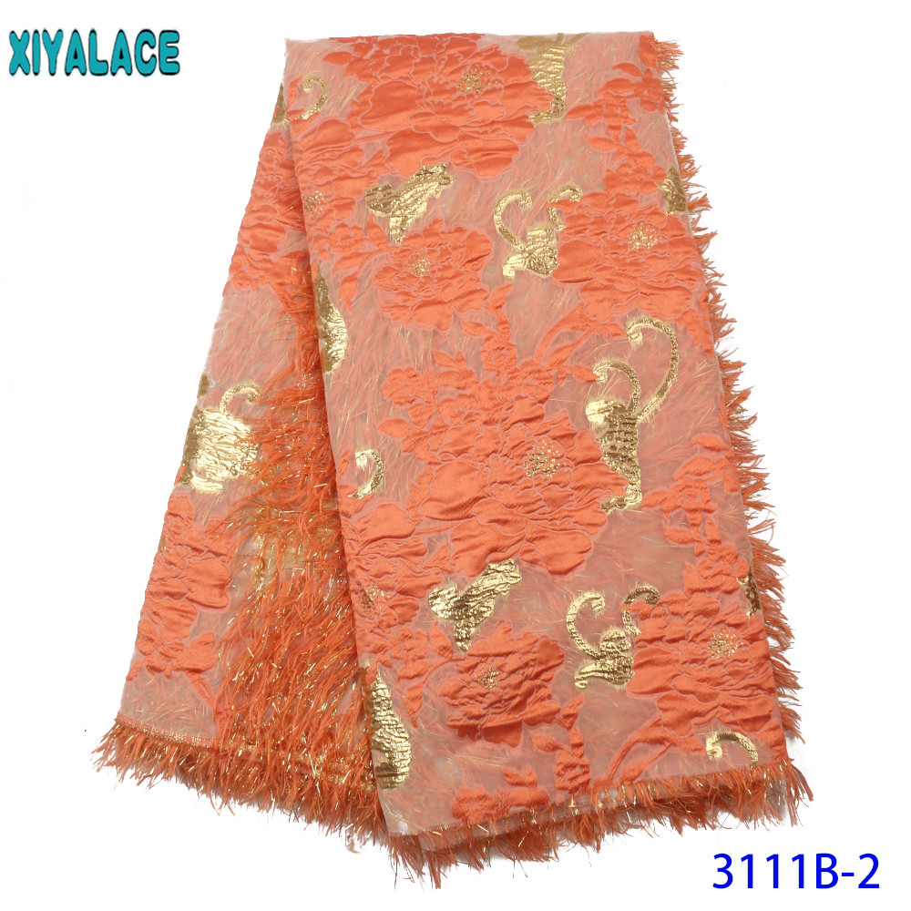 Orange Feather 2019 High Quality Tulle African Laces Fabric Latest French Nigerian Laces Fabrics  For Wedding Party KS3111B