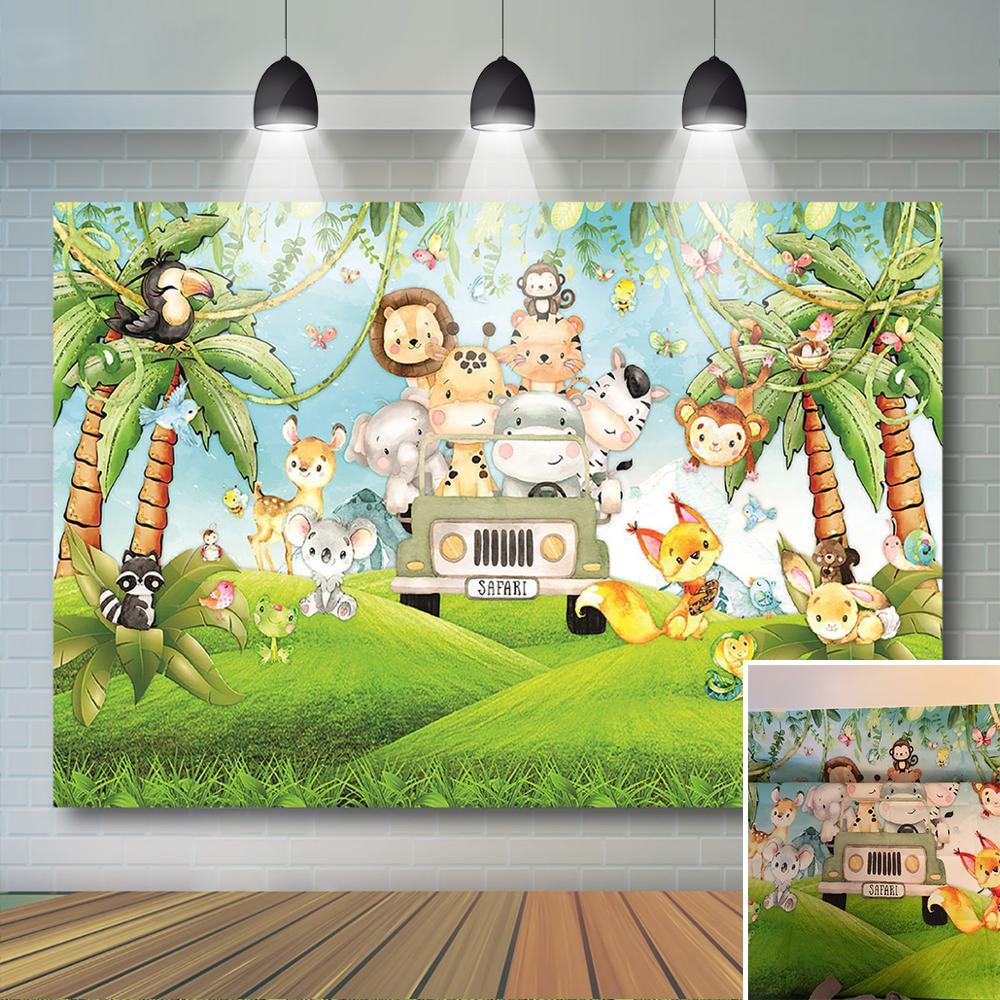 Сафари фон сафари дикая одна детская вечеринка День рождения украшение джунгли лесной фон с животными