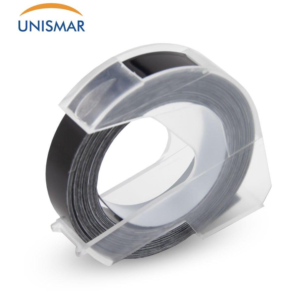 Unismar 100 шт 9 мм Dymo 3D черная пластиковая лента с тиснением для тиснения этикеток производитель ПВХ Этикеток DYMO 1610 12965 1880 1540 Motex E101