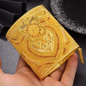 Wando luxurio Bride 24K Gold Color Dubai Bangles For Women African Ethiopian Bracelets for Women Wedding Jewelry Party Gifts