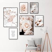 Tulipa peônia flor de pêssego vida citações arte da pintura em tela nordic posters e cópias parede fotos para sala estar decoração