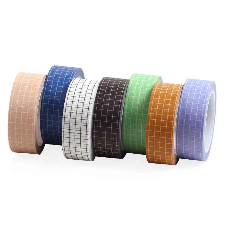 1 PC 10M Hitam Putih Grid Washi Tape Kertas Jepang DIY Perencana Masking Tape Perekat Stiker Dekoratif Alat Tulis tape