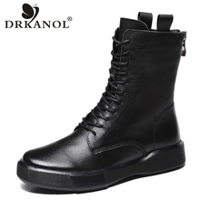 Winter Shoes Boots Women Autumn Flat 100%Genuine-Leather DRKANOL Mid Soft-Bottom Warm