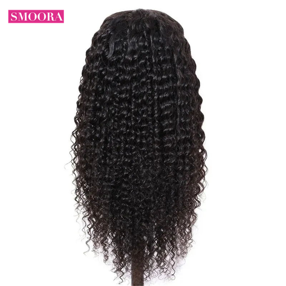 Deep Wave Lace Front  Wigs 13X1 Middle Part Lace Wig Pre Plucked With Baby Hair 150% Density 10-30Inch 4