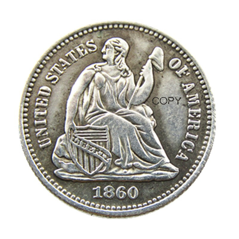 USA 1860-P-O Liberty Seated Half Dime Copy Coins
