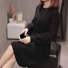 Женское трикотажное платье свитер черное свободное Повседневное