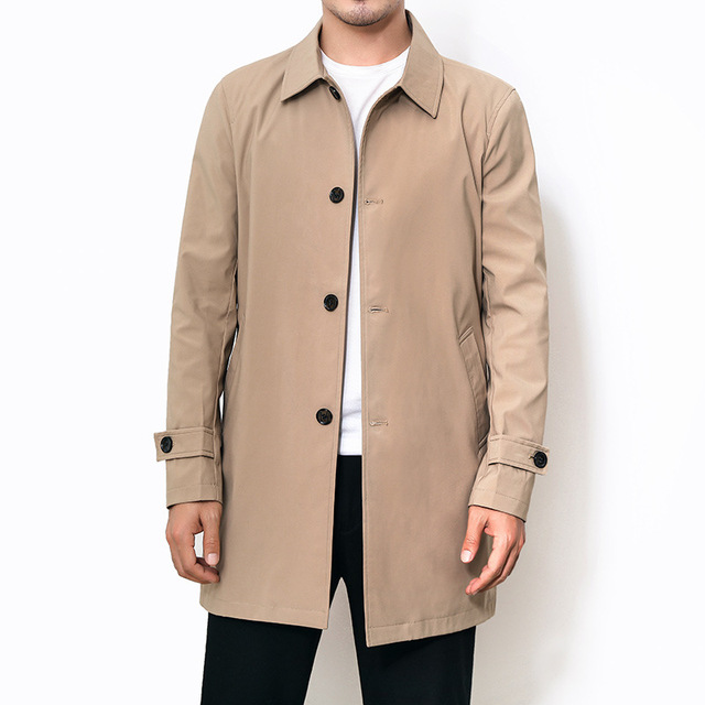 Mens Overcoat Business Casual Autumn Winter Coat Thick Windbreaker Fashion Khaki Long Trench Coat Men Xxxl 4xl Outerwear Boy Hot 2
