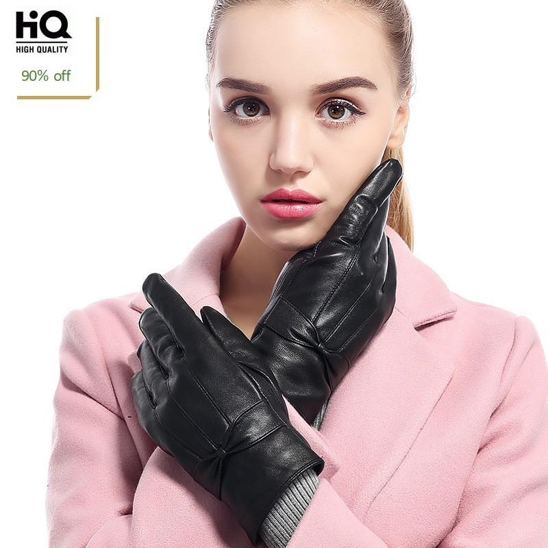 2020 New Arrival Women Short Gloves Fashion Bowknot Woman Leather Gloves Black Motorcycle Gloves Elegant Guantes Invierno Mujer