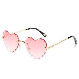 Image 5 - Женские солнцезащитные очки без оправы в форме сердца, модные брендовые дизайнерские очки в металлической оправе, градиент цвета конфеты, трендовые очки