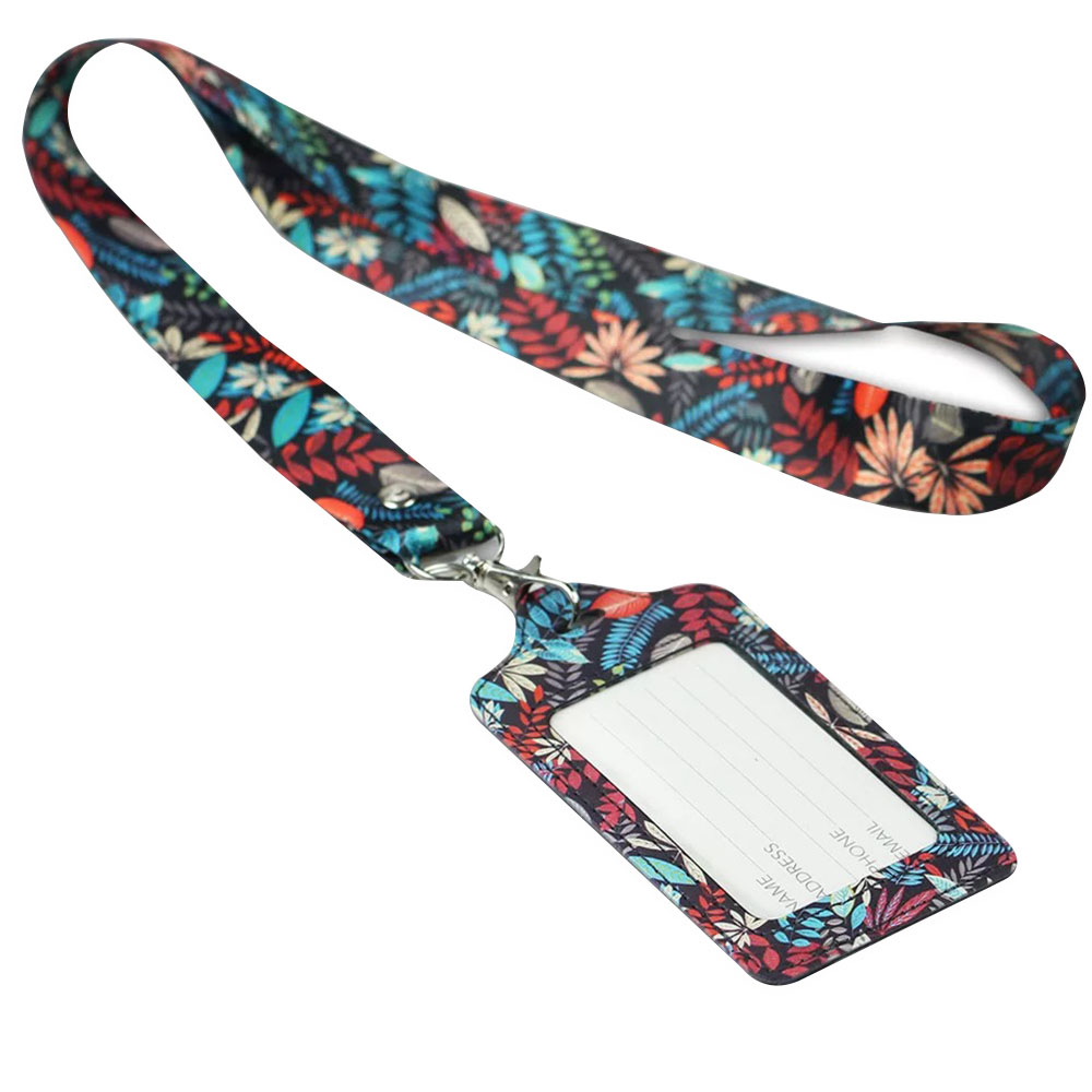 Badge Holder Lanyard Women Men PU Bank Card Neck Strap Card Bus ID Holder Students Kids Identity Badge With Lanyard Badge