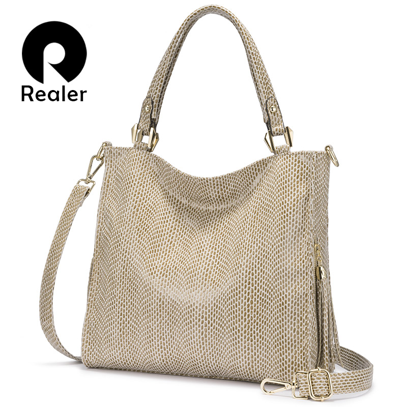 REALER Women Handbag Shoulder Bag Female Crossbody Bags For Women 2019 Luxury Handbag With Top Handle For Ladies Tassel Tote Bag