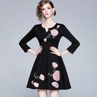 2019 autumn new temperament embroidery slim vintage black dress women fashion elegant french dresses women clothes