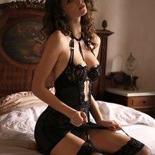 Black Charm Corset Bustiers Female Body Shaper Lace Underwire Seduction Dress Sexy Lingerie Halter Cross Backless Uniform