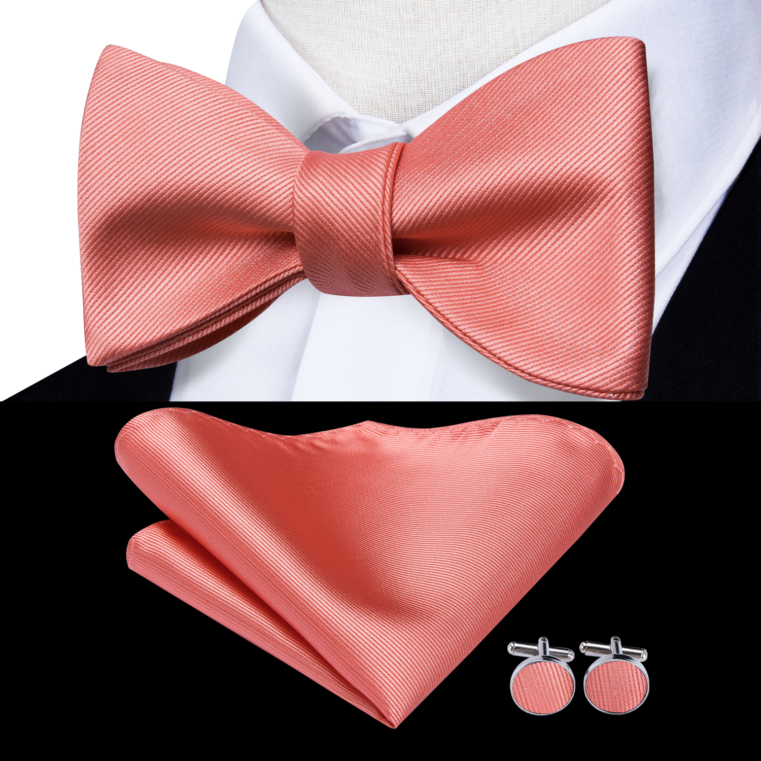 Hi-Tie 100% Silk Classic Coral Pink Rose Wedding Bow Ties For Men Hanky CUffinks Set Fashion Golden Pink Red Peach BowTie Set