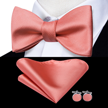 Hi-Tie 100% Silk Classic Coral Pink Rose Wedding Bow ties fo