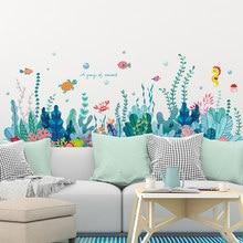 SHIJUEHEZI-pegatinas de pared de algas marinas, calcomanías de pared de plantas de agua de pescado para habitación de niños, dormitorio de bebé, baño, decoración del hogar