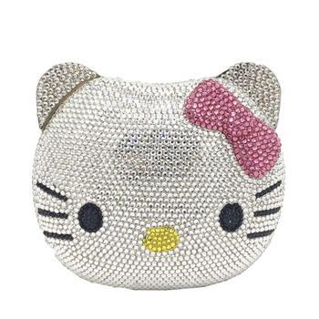 Bolso de noche de lujo con diseño de abeja en mosca con diamantes incrustados a mano, lazo rosa, Hello Kitty, monedero de boda cero, bolsa de dinero en efectivo