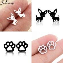 jisensp Stainless Steel Dog Paw Earrings for Women Fashion Earings Jewelry Cute Chihuahua Stud Earrings Piercing Studs oorbellen