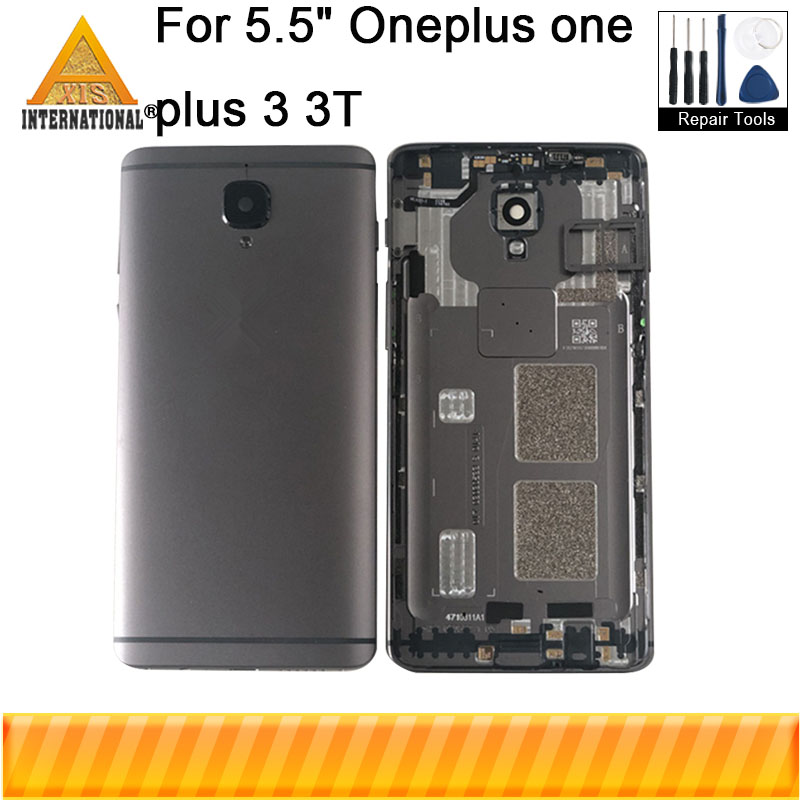 Axisinternational For Oneplus 3 oneplus <font><b>3T</b></font> Back <font><b>Battery</b></font> Cover Case Housing+SIM Card Tray+Side Key Buttons Flex+Glass Lens Flash image