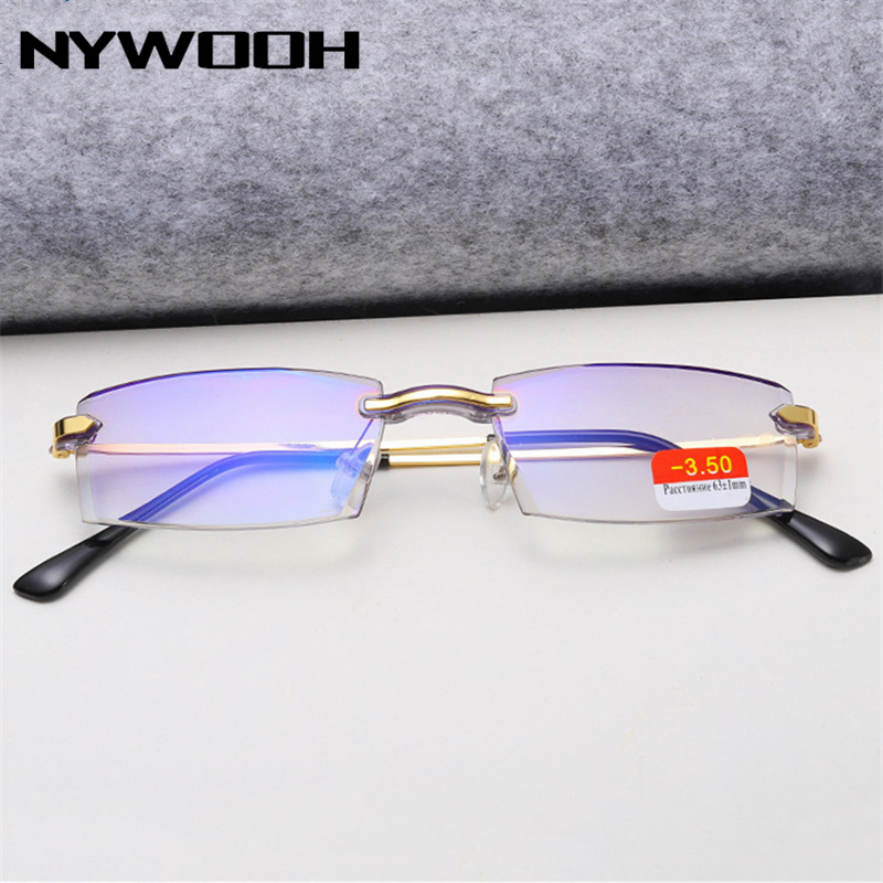 NYWOOH Finished Myopia Glasses Women Men Anti-blue Light Business Nearsighted Eyeglasses Rimless Resin Spectacles Unisex -4.0