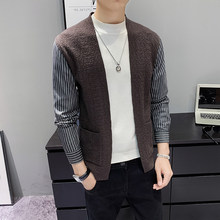 Fake Two Pieces Shirt Sleeve Knitting Cardigan Male Sweater Knittwear Men Sweaters Herren Pullover Winter Jersey Hombre Invierno(China)