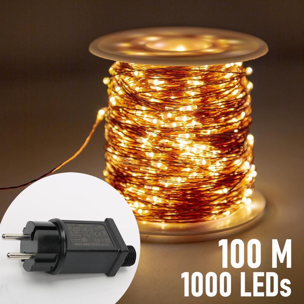 Гирлянда с медной проволокой, 100 м, 1000 светодиодов