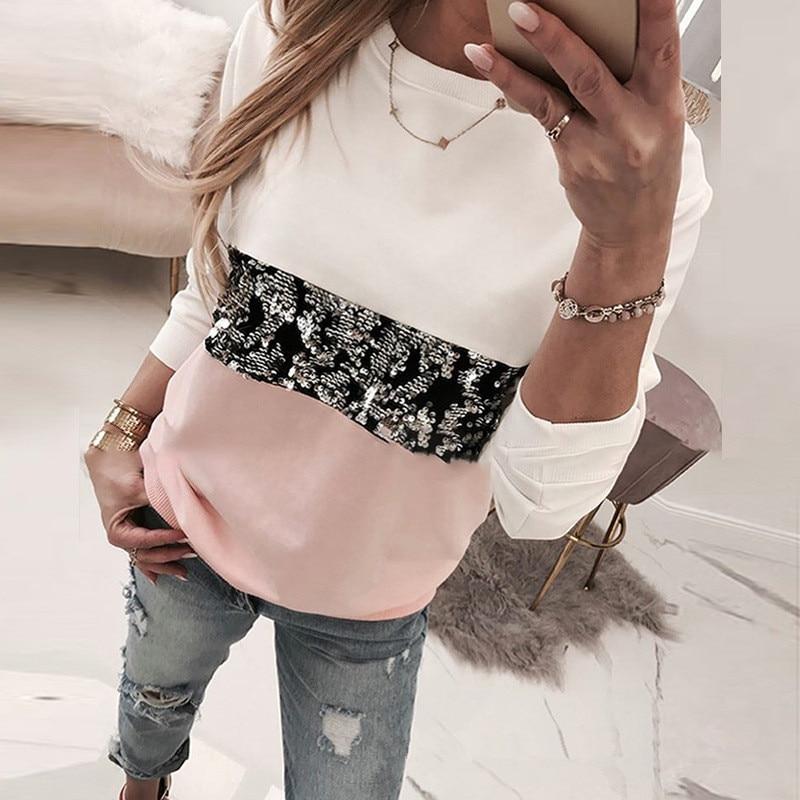 Женские леопардовые футболки с длинными рукавами и круглым вырезом, повседневные хлопковые футболки для девушек, весенне-осенние свободны...