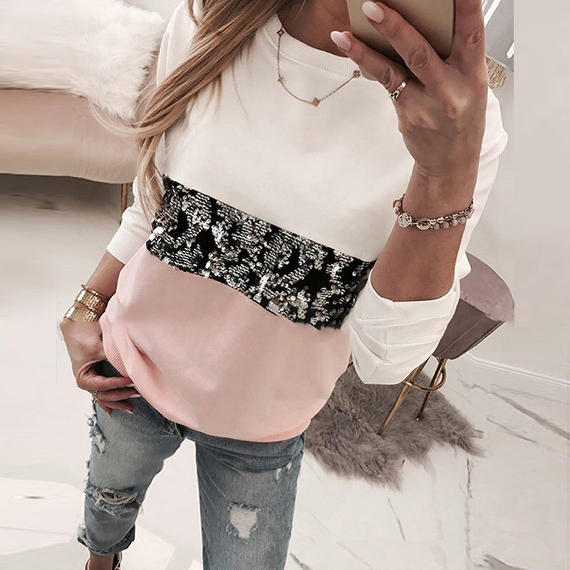 Sequin Leopard Long Sleeve Tshirts Women O Neck Casual Cotton Tees Lady Spring Autumn Loose Tops Female T Shirt Clothes