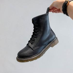 Image 5 - Krazing Pot new genuine leather classics round toe motorcycle ankle boots comfortable thick bottom love print winter shoes L80