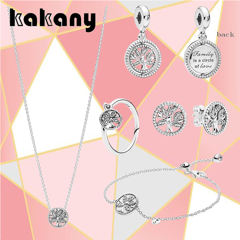 2019 Spring Real S925 Sterling Silver European Tree Of Life Set Shining Retro Collection Original DIY Glamour Jewelry