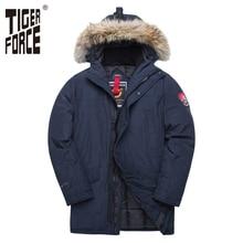 TIGER FORCE Alaskaฤดูหนาวเสื้อสำหรับชายParkaกันน้ำThicken Coatแจ็คเก็ตจริงขนสัตว์ชายSnowjacket Outwear