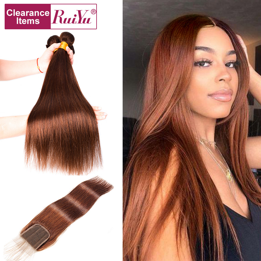 RUIYU Human-Hair-Bundles Closure Brown Brazilian-Hair Straight with Weave Non-Remy title=