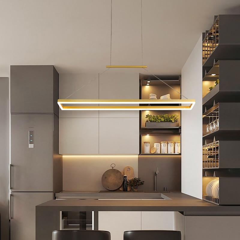 Lampe LED suspendue rectangulaire au design nordique moderne, luminaire décoratif d'intérieur, idéal pour un salon, une chambre à coucher ou une cuisine