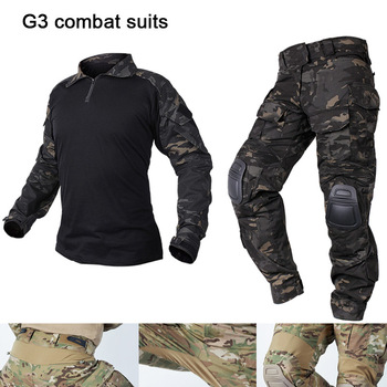 Combat  Clothes Suit Tactical Camouflage Military Uniform Army Clothes Airsoft Military Men US Shirt + Cargo Pants Knee Pads G3 tactical hunting camouflage clothes military uniform airsoft clothing army tactical shirt pants with knee pads