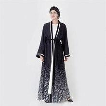 Абая Дубай черный мусульманский женский кардиган открытое кимоно с принтом градиентного цвета плюс размер исламский халат кафтан и абайя s