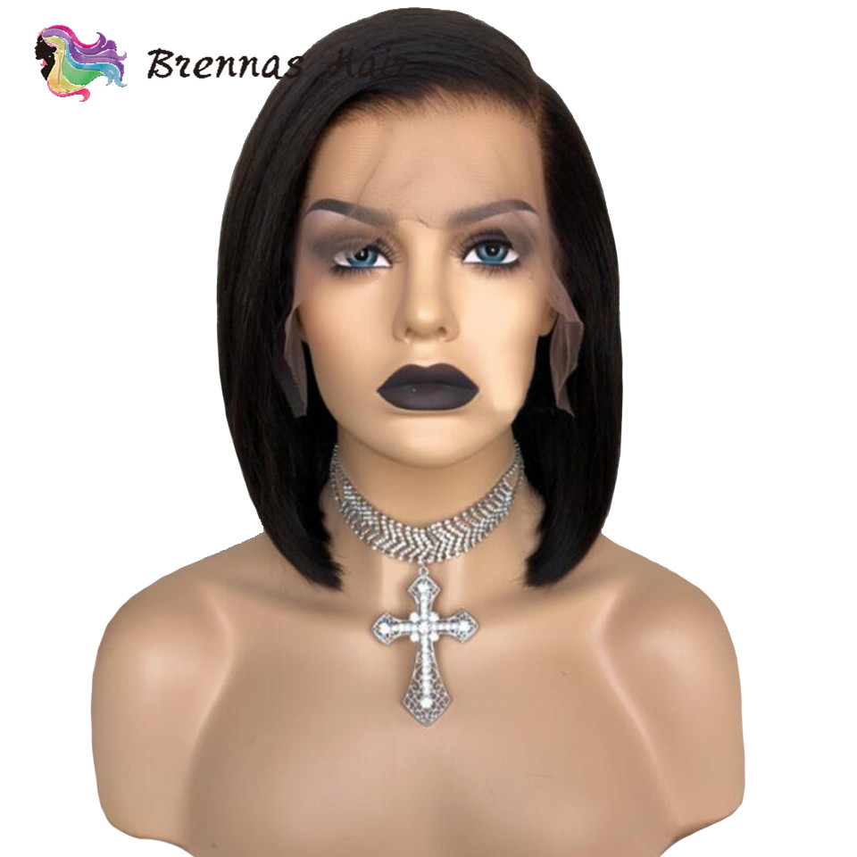 Short Bob 13x6 Lace Wig Natural Black Color Side Part Straight Bob Lace Front Wig Bleached Knots Preplucked For Black Women
