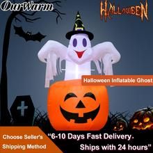 Nuestra cálida calabaza inflable de Halloween decoración de miedo al aire libre fiesta de Halloween inflable soplado en calabaza hacia arriba bruja inflable