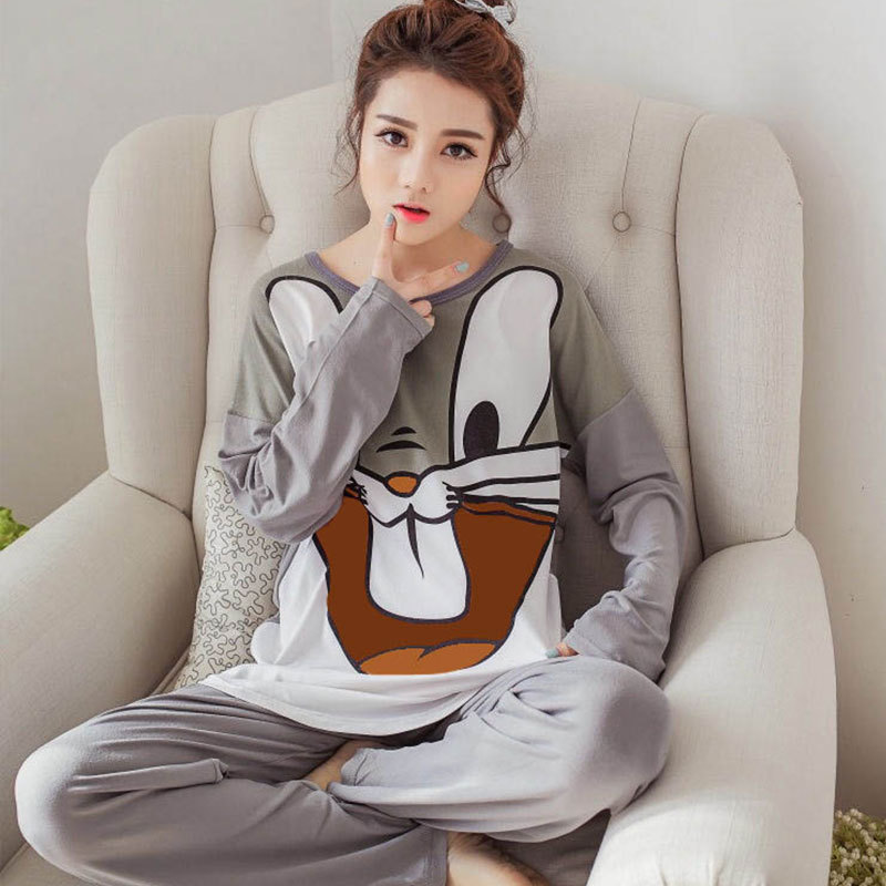 Spring And Autumn Pajamas Women Long Sleeve Thin Summer Air-conditioned Room Cartoon Cute Bugs Bunny Gray Homewear Set Women's