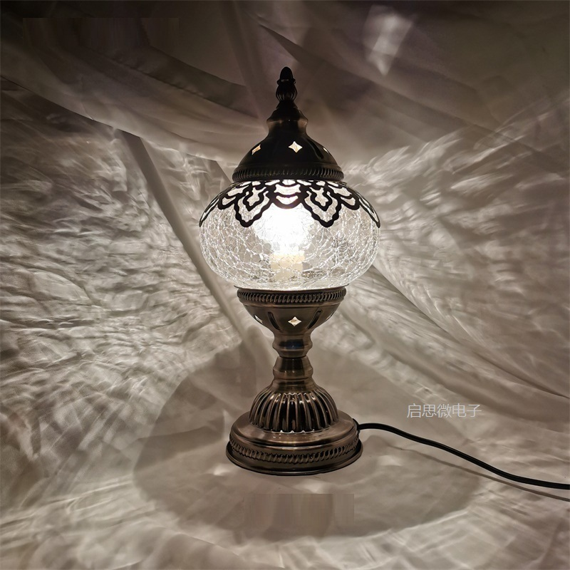 Creative Holiday Retro Ice-cracked Table Lamps Clear Turkish Lamp Night Light Bedroom Desk Lighting Home Decoration