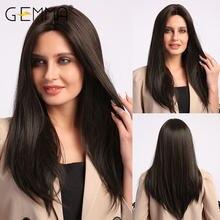 Gemma длинные шелковые прямые синтетические волосы парики натуральный