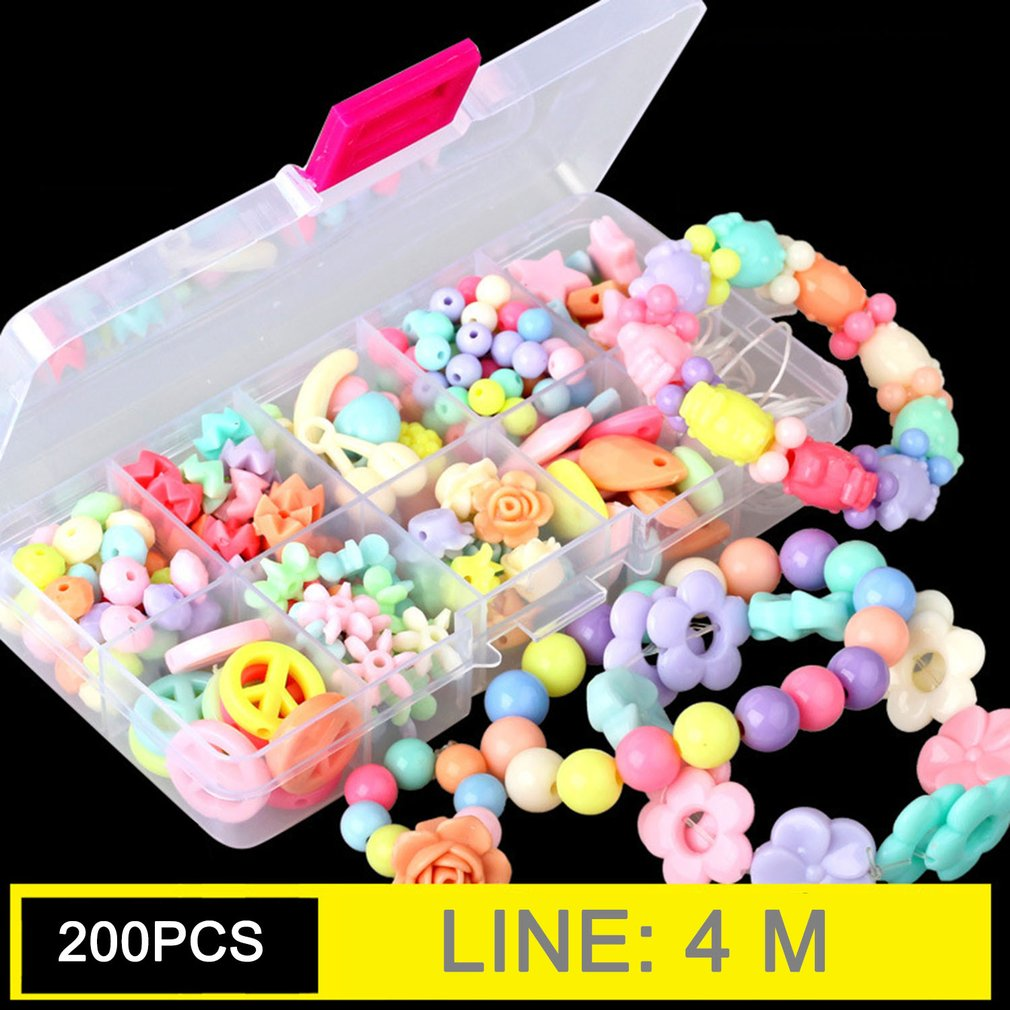 DIY Acrylic Bead Kit With 10 Grids Plastic Box Handmade Jewelry Beads Set Necklaces Bracelet Making Educational Toy For Children