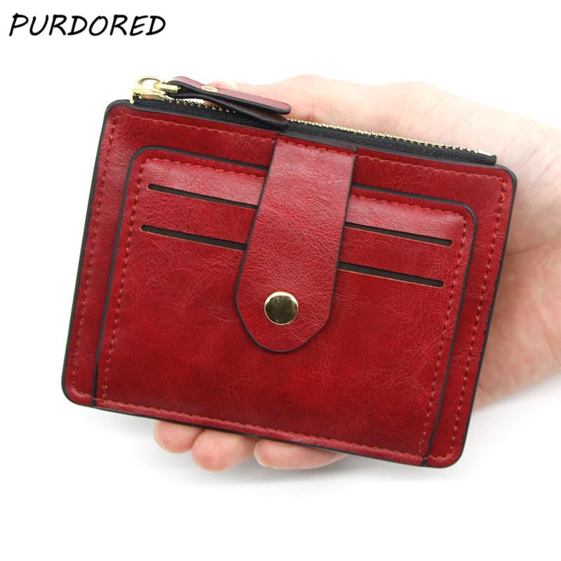 PURDORED 1 Pc Unisex Slim Card Holder Soft Leather Business Cards Wallet Money Purse for Men Women Fashion Card Case Tarjetero