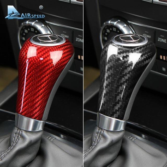 Airspeed Real Carbon Fiber voor Mercedes Benz G E C Klasse CLS Accessoires voor Mercedes W204 W212 Interieur Trim gear Shift Cover