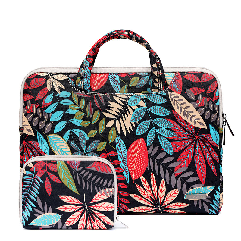 Laptop Bag Computer Package Color Leaf Pattern Retro Tablet For 11-15.6 Inch Laptop And Tablet PC And Durable Briefcase