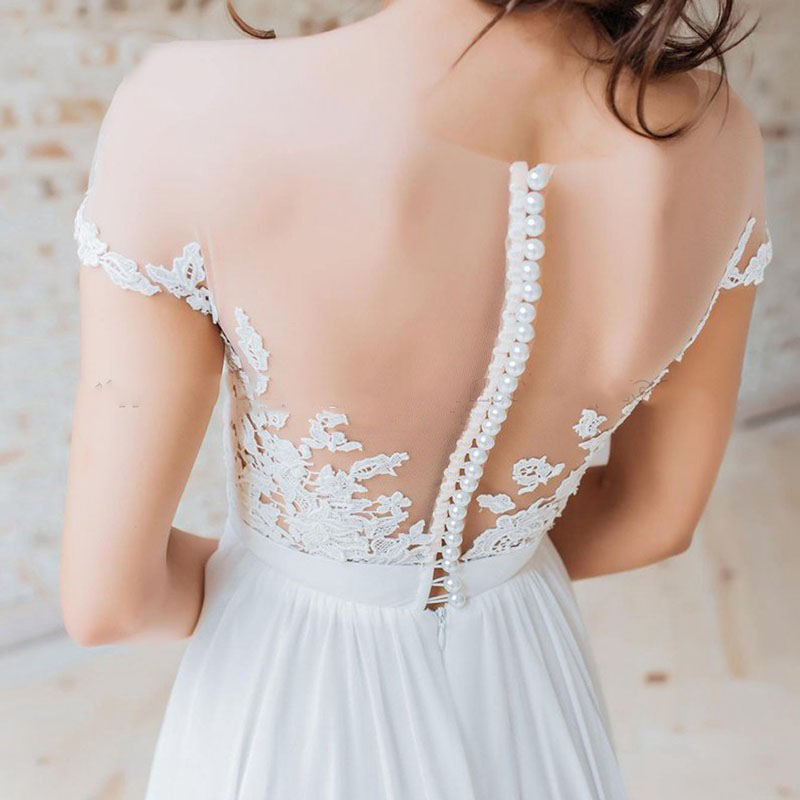 Custom Made Beach Wedding Dresses Pearls Button Back Appliques Lace Boho Wedding Gown A-Line Side Split Chiffon Bride Dress