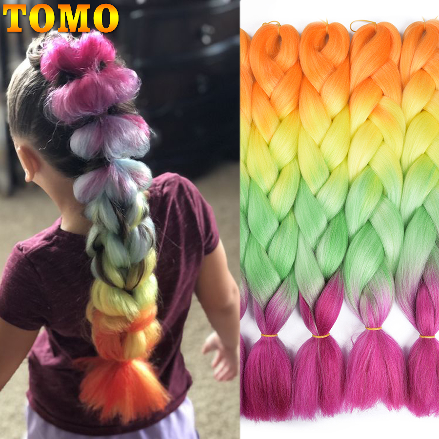 TOMO 24 Inch Long Xpression Braiding Hair Extensions Jumbo Crochet Braids Synthetic Hair Style 100g/Pc Pure Blonde Pink Green