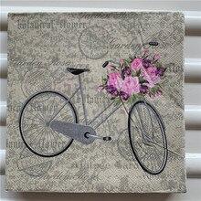 20 servilletas vintage de papel con impresión de flores rosas mariposa bicicleta decoupage en tela servilletas de café decoraciones de mesa para fiestas de boda