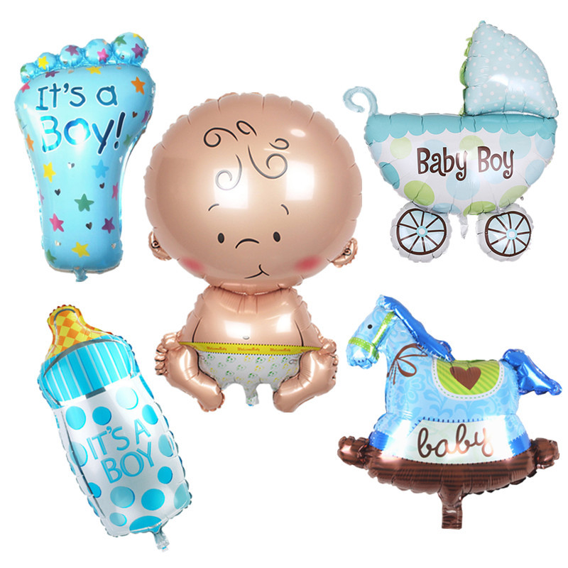 Mini Baby Shower Boy Girl Doll Festival Decoration Aluminum Balloon Xenon Carriage Ball Birthday Party